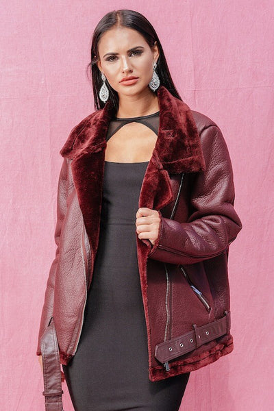 MELISSA OXBLOOD FAUX LEATHER JACKET - IvyEkongFashion
