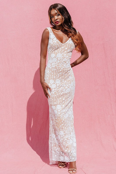 SIMONA WHITE SEQUIN MAXI OCCASION DRESS - IvyEkongFashion