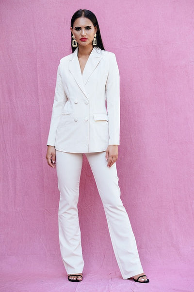 ALESIASTA CREAM TROUSER SUIT BLAZER SETS - IvyEkongFashion