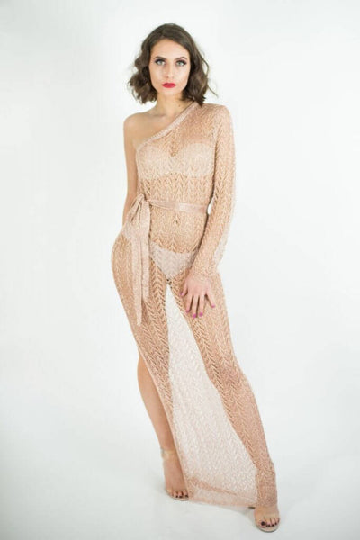 BARCELA ROSE GOLD ONE SHOULDER KNITTED MAXI DRESS - IvyEkongFashion