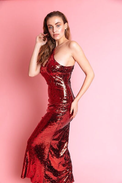 Leighna Red Sequin One Shoulder Dress - IvyEkongFashion