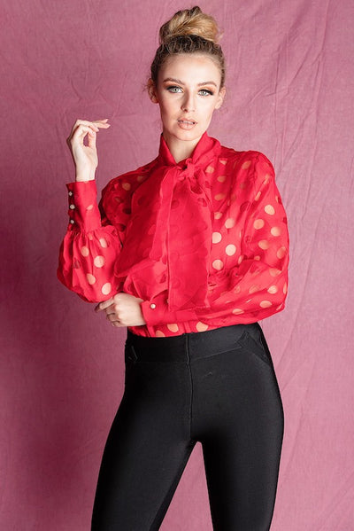 SANDRA RED DRAMATIC BOW BLOUSE - IvyEkongFashion