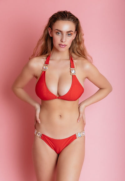 BALI RED EMBELLISHED BIKINI TOP - IvyEkongFashion