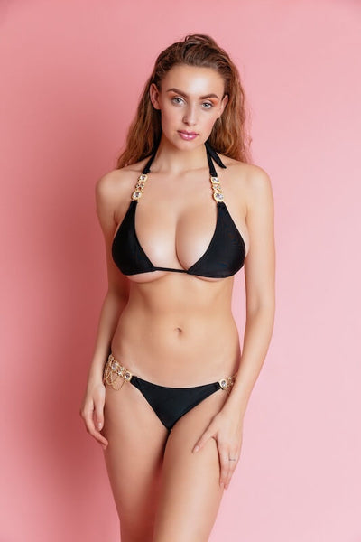 BALI BLACK EMBELLISHED BIKINI BOTTOM - IvyEkongFashion