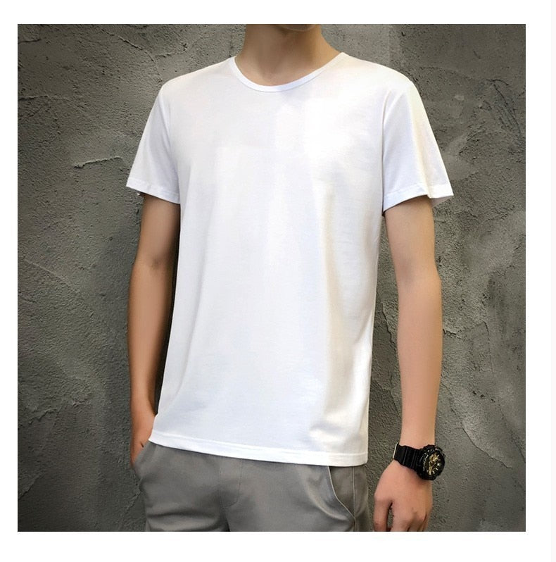 Men Plain White T-Shirt - tie-dyeathome