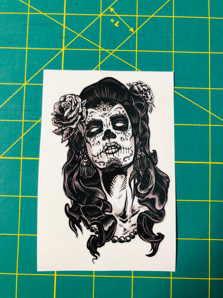 Day of the dead woman decal