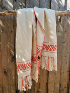 Handwoven White Cotton Shawl with Coral Band