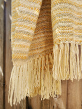 Load image into Gallery viewer, Handwoven Gold/Beige/Green Pure Wool Shawl