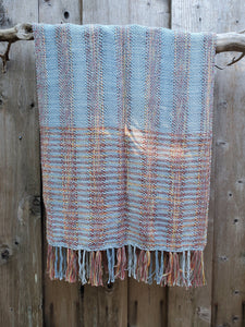 Handwoven Cotton Versatile Poncho in Blue and Red
