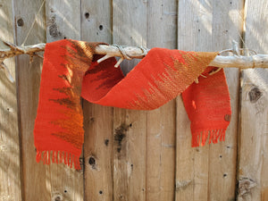 Handwoven Red Orange Scarf