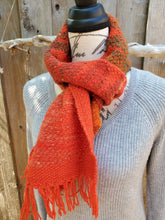 Load image into Gallery viewer, Handwoven Red Orange Scarf