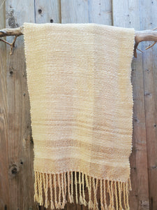 Handwoven Hand Dyed Cream and Rose Shawl