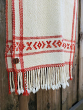 Load image into Gallery viewer, Handwoven White Shawl with Red Band