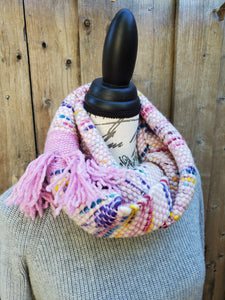 Handwoven Pink and White Cowl