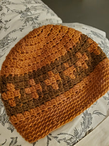 Orange and brown crosses crochet beanie