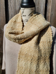 Handwoven and Hand Dyed Cream and Rose Scarf