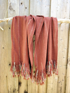 Handwoven Brick Red Shawl with lots of Fringes