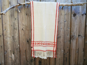 Handwoven White Shawl with Red Band