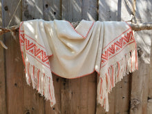 Load image into Gallery viewer, Handwoven White Cotton Shawl with Coral Band