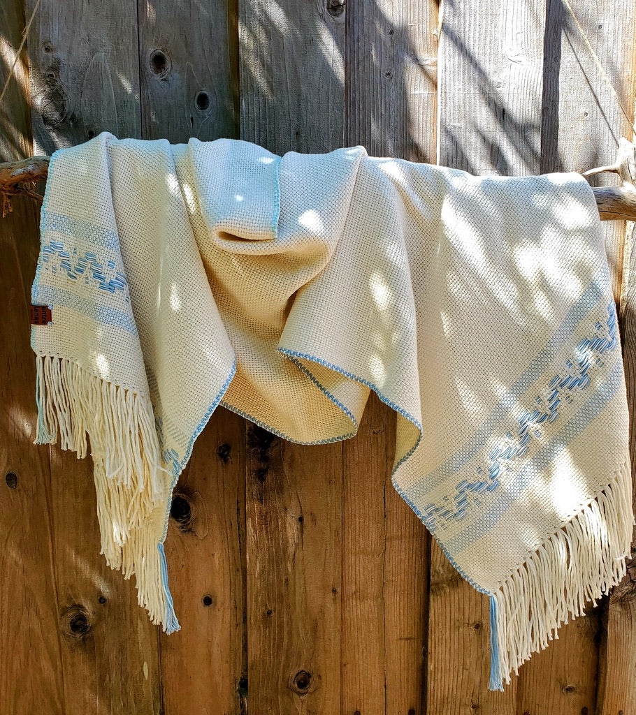 Handwoven White Cotton Shawl with Light Blue Band