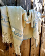 Load image into Gallery viewer, Handwoven White Cotton Shawl with Light Blue Band