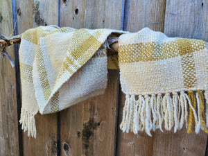Handwoven and Hand Dyed White Scarf