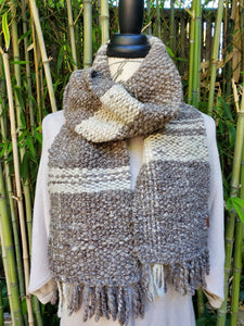 Handwoven and Hand Spun Scarf in Natural Colors