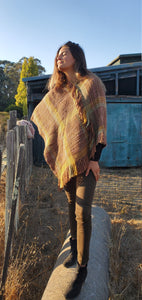 Handwoven Pure Wool Poncho in Earthy Colors