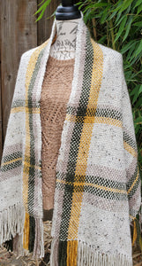 Handwoven Beige Shawl, with Yellow and Green Details