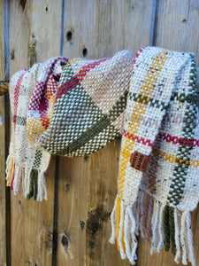 Handwoven Beige Scarf with Colorful Stripes