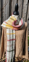 Load image into Gallery viewer, Handwoven Beige Scarf with Colorful Stripes
