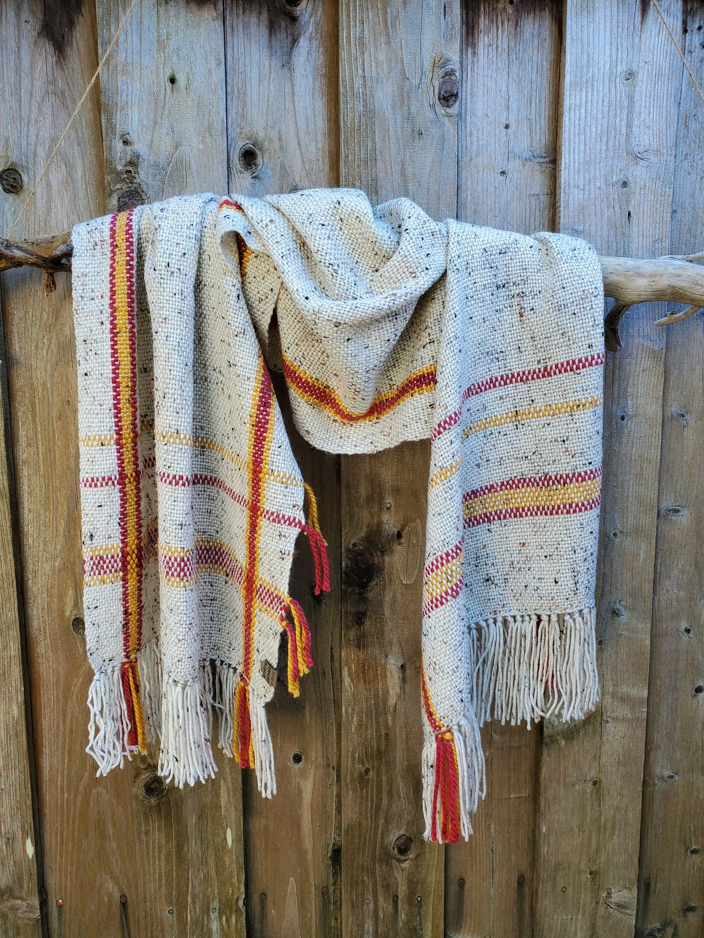 Handwoven Beige Shawl with Yellow and Red Details