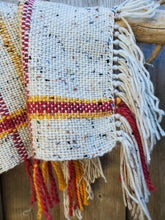 Load image into Gallery viewer, Handwoven Beige Shawl with Yellow and Red Details