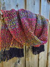 Load image into Gallery viewer, Handwoven Black and Rainbow Shawl