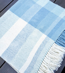 Handwoven Light Blue Cotton Shawl
