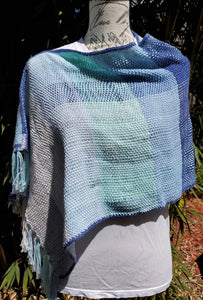 Handwoven Cotton Ponchito in Blues
