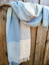 Load image into Gallery viewer, Handwoven Light Blue Cotton Shawl