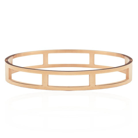 Open Square Bangle -Rosegold