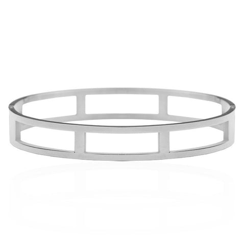 Open Square Bangle -Silver