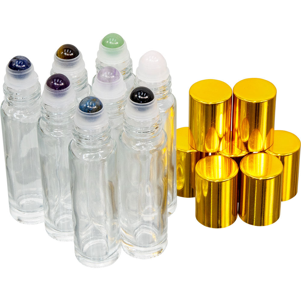 Empty Glass Gemstone Roll On Bottles Set