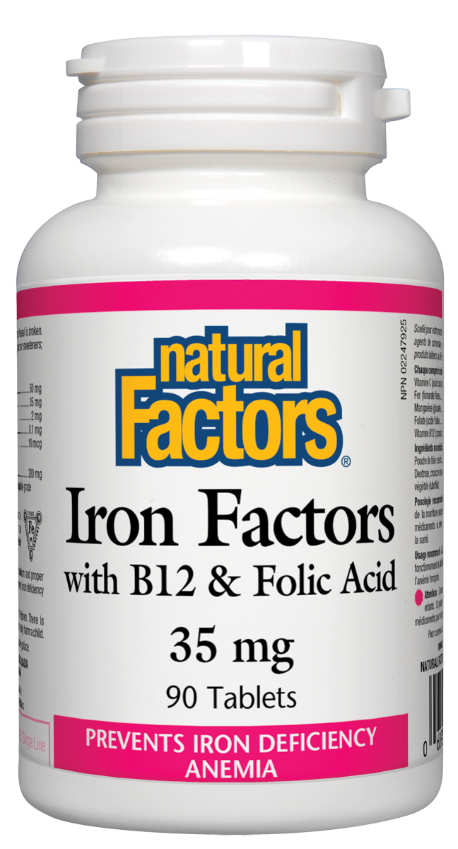 Iron Factors with B12 and Folic Acid 35mg 90 tablets