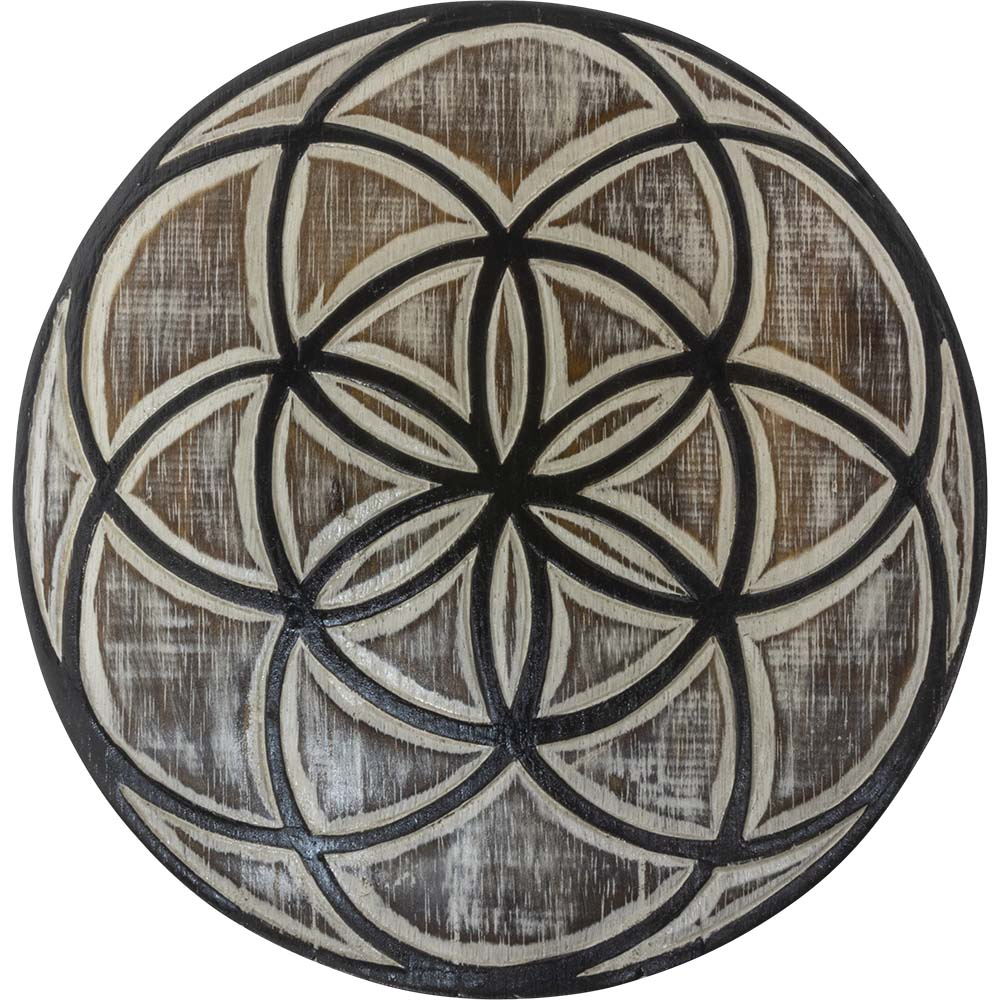 Seed of Life Wood Plaque and Crystal Grid