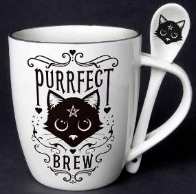 Purrfect Brew Ceramic Mug and Spoon