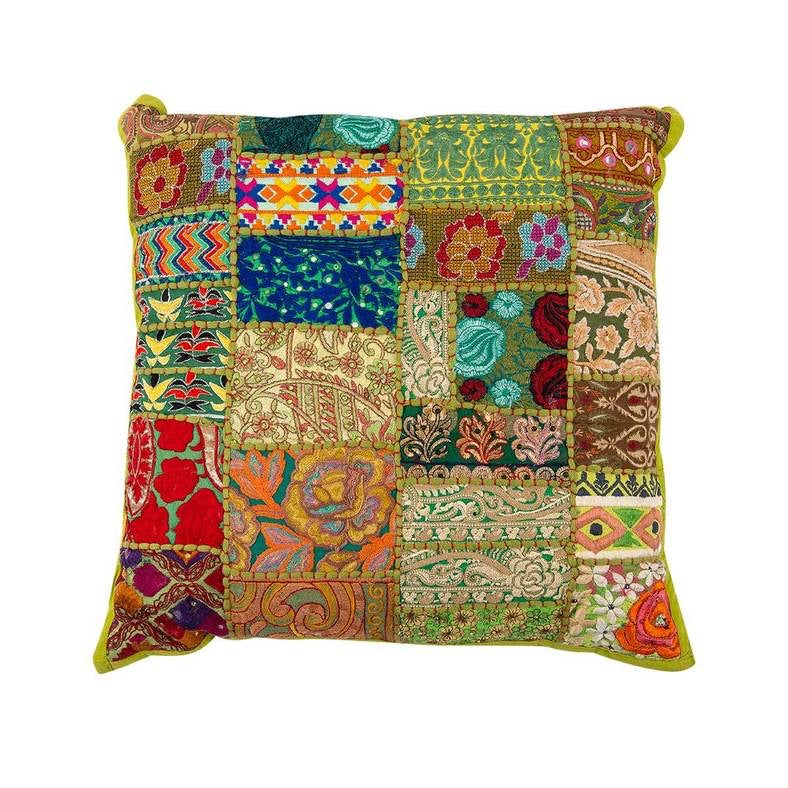 Meditation Cushion Square Pattern Green