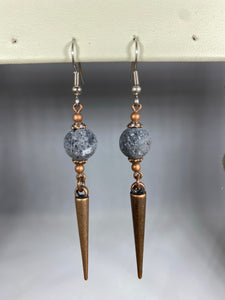 Spike Round Lava Diffuser Earrings Bronze