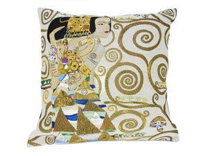 Musart on Pillows –Gustav Klimt Pillow Jacquard Weave –  The Expectation