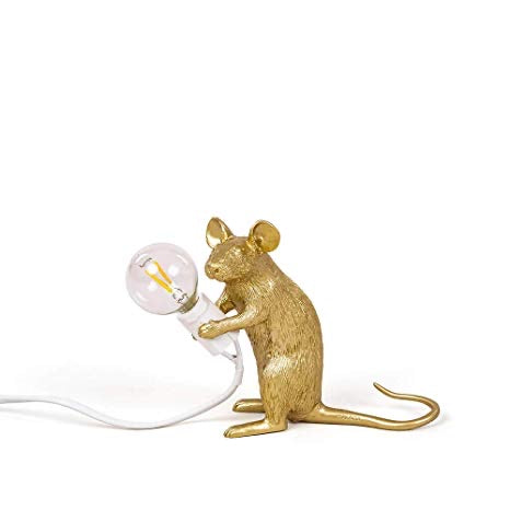 Seletti - Lighting: Mouse Lamp Gold Sitting
