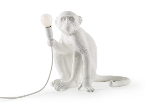 Seletti - Lighting: The Monkey Lamp White Sitting Outdoor Version
