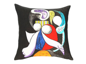 Musart on Pillows - Picasso Woman with Flower Jacquard Weave Pillows