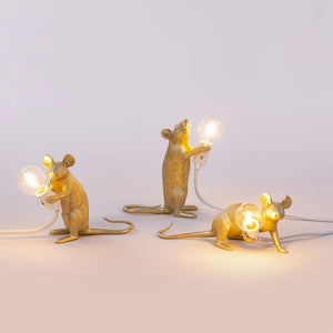 Seletti - Lighting: Mouse Lamp Gold Standing
